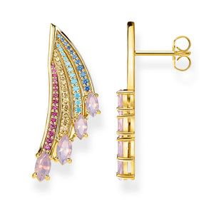 Gold Plated Bright Hummingbird Wing Earrings | Thomas Sabo
