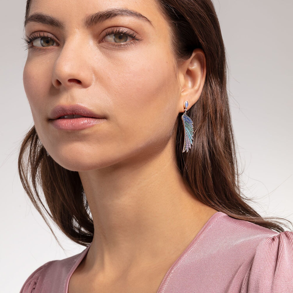 Silver Bright Coloured Hummingbird Wing Earrings | Thomas Sabo