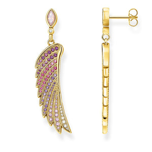 Gold Plated Bright Coloured Hummingbird Wing Earrings | Thomas Sabo