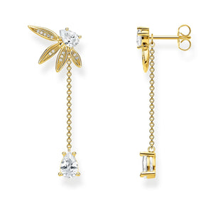 Earrings Leaves With Chain Large Gold | Thomas Sabo