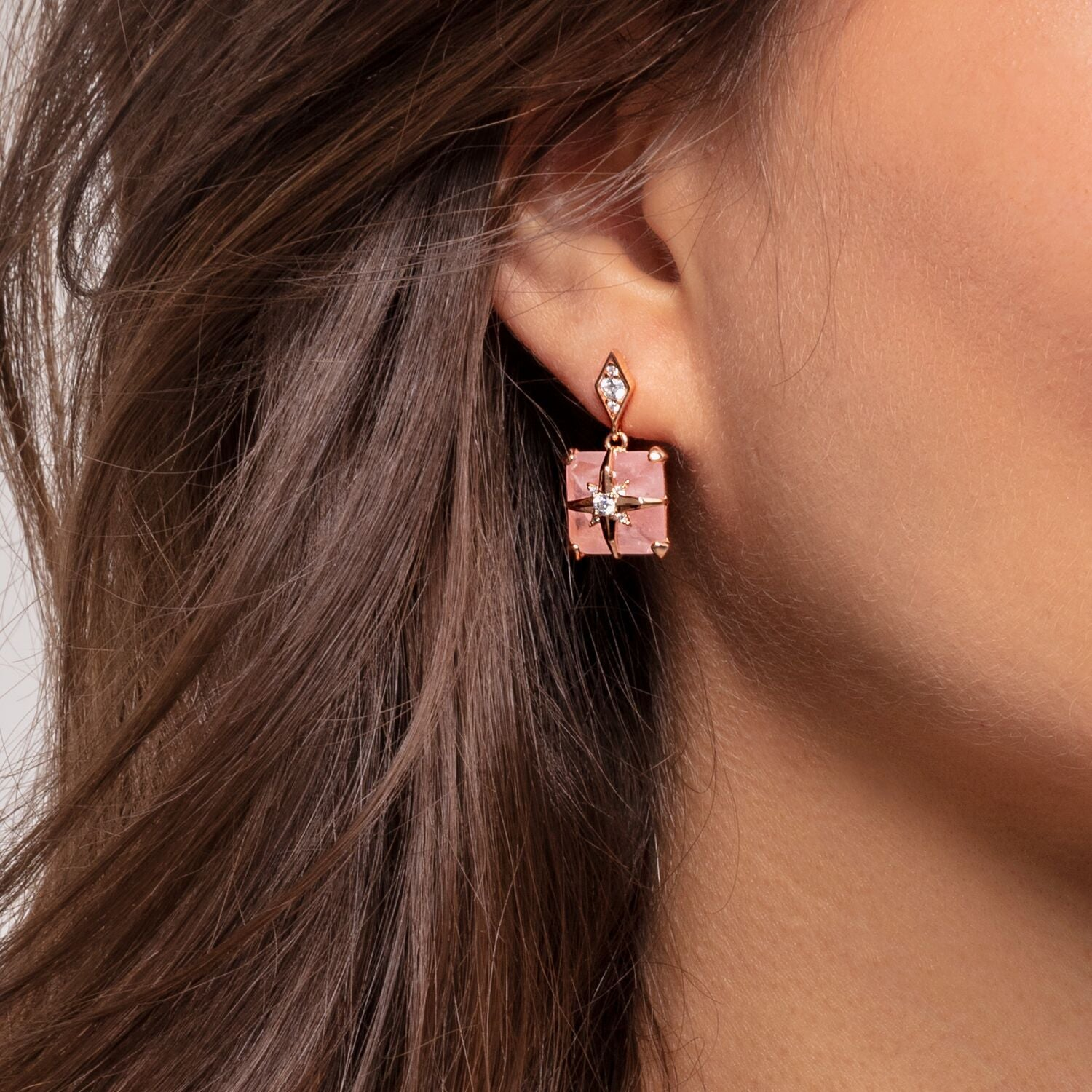 Pink Stone Earrings with Star