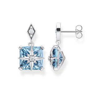 Silver Blue Stone Square Ear Stud Earrings with Star | Thomas Sabo