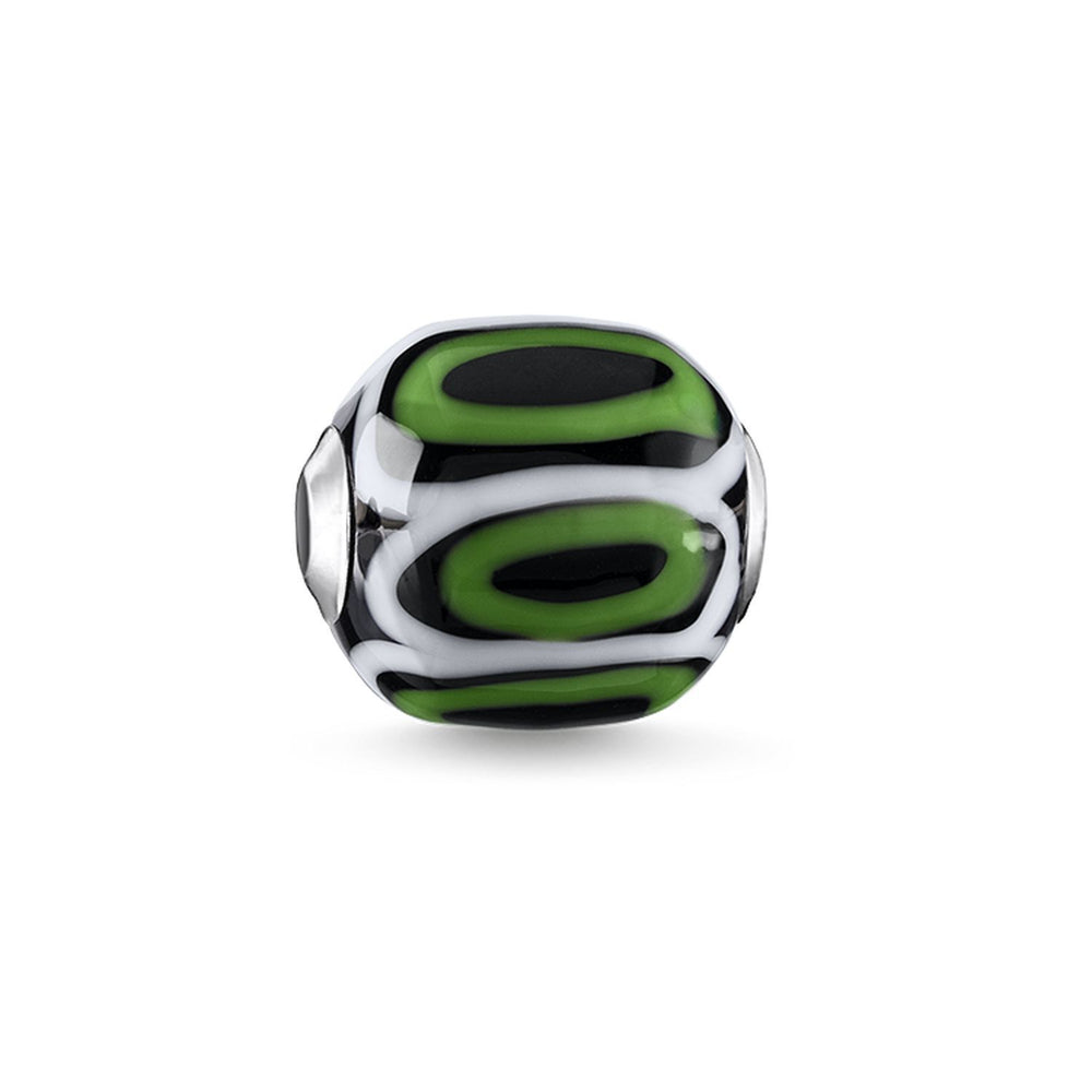 "THOMAS SABO Bead ""Glass Bead Green, Black, White"""