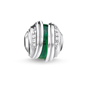 Bead Leaves Malachite Silver