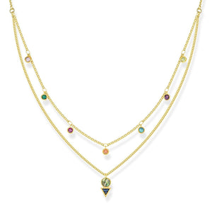 Gold Plated Colourful Stones Double Necklace | Thomas Sabo
