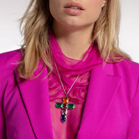Pendant Cross Colourful Stones, Silver, Large | Thomas Sabo