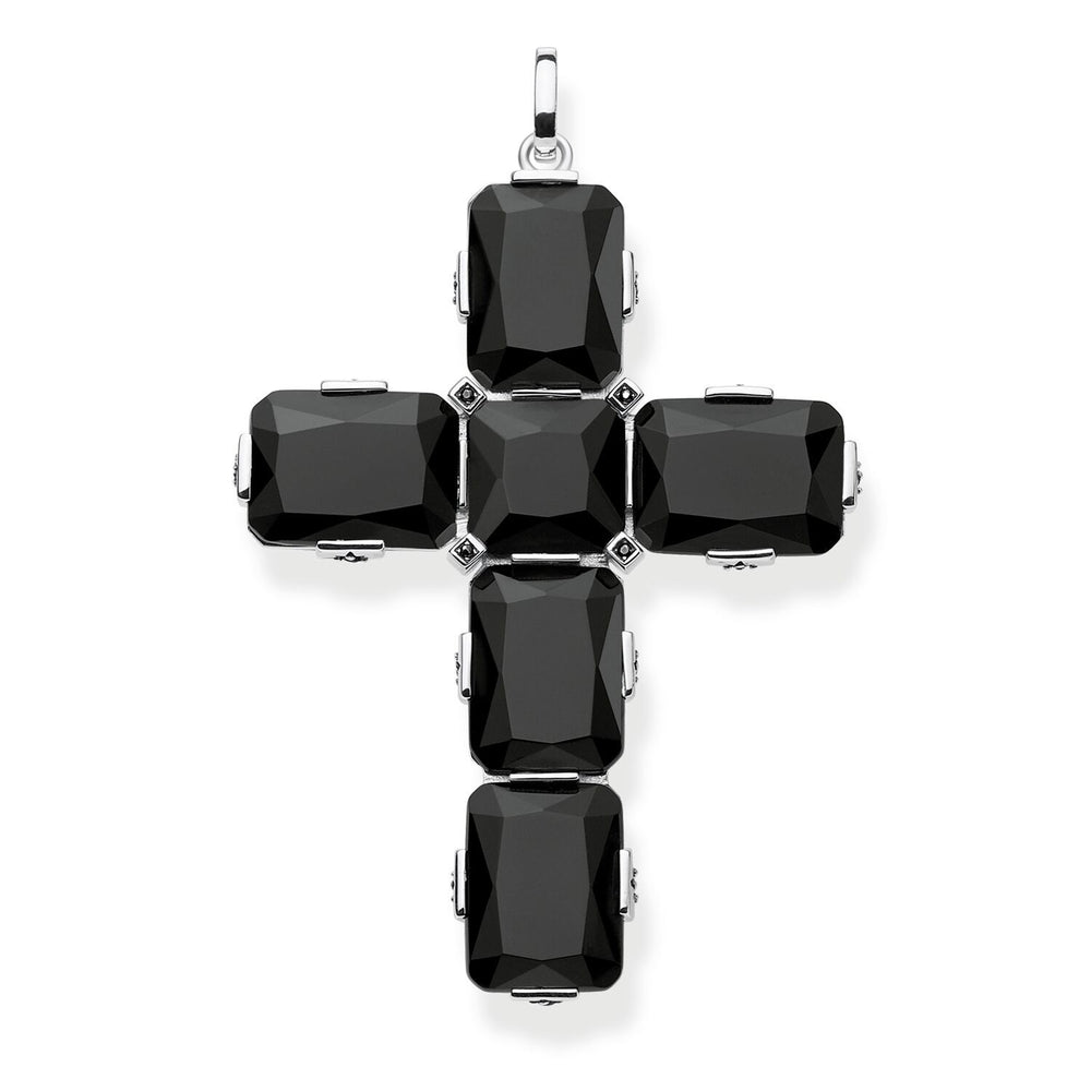 Pendant Cross Black Stones, Large