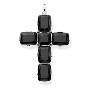 Pendant Cross Black Stones, Large | Thomas Sabo