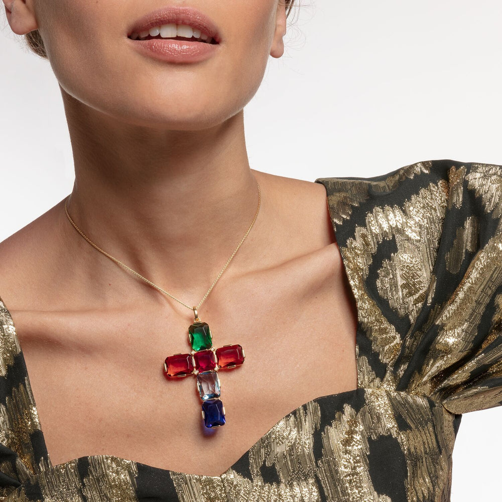 Pendant Cross Colourful Stones, Gold, Large | Thomas Sabo