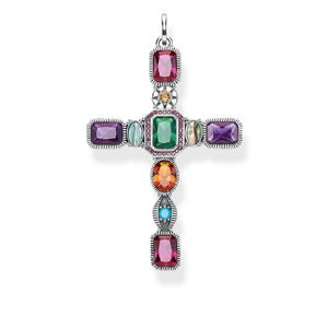 Pendant Cross Colourful Stones