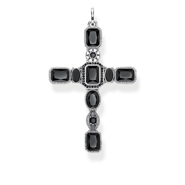 Pendant Cross Black Stones