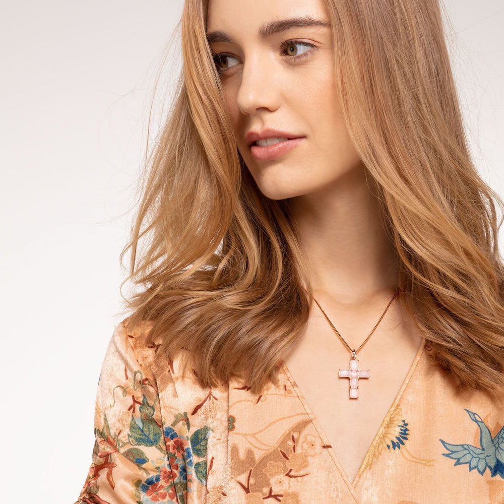 Pendant Cross Pink Stones With Star | Thomas Sabo