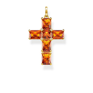 Pendant: Pendant Cross Orange Stones | Thomas Sabo Australia