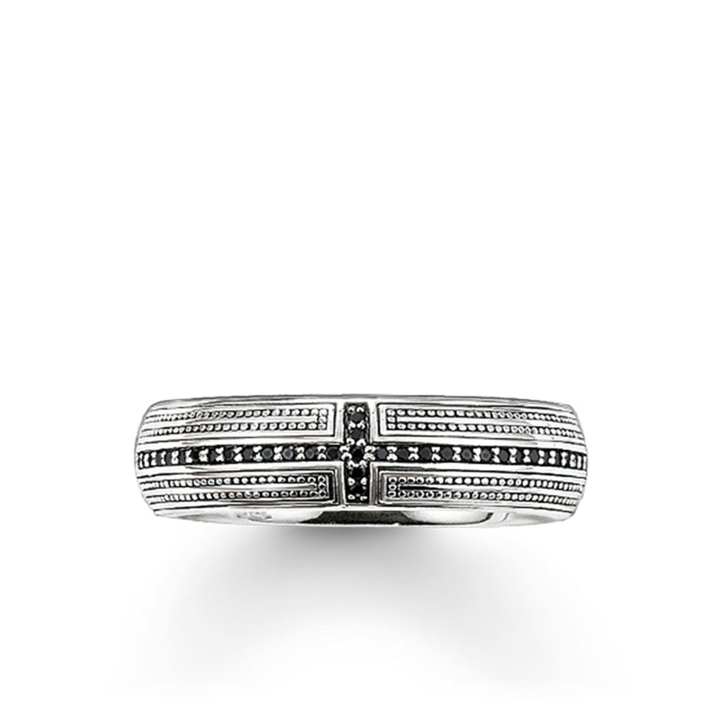 "Band Ring ""Cross Pavé"" 