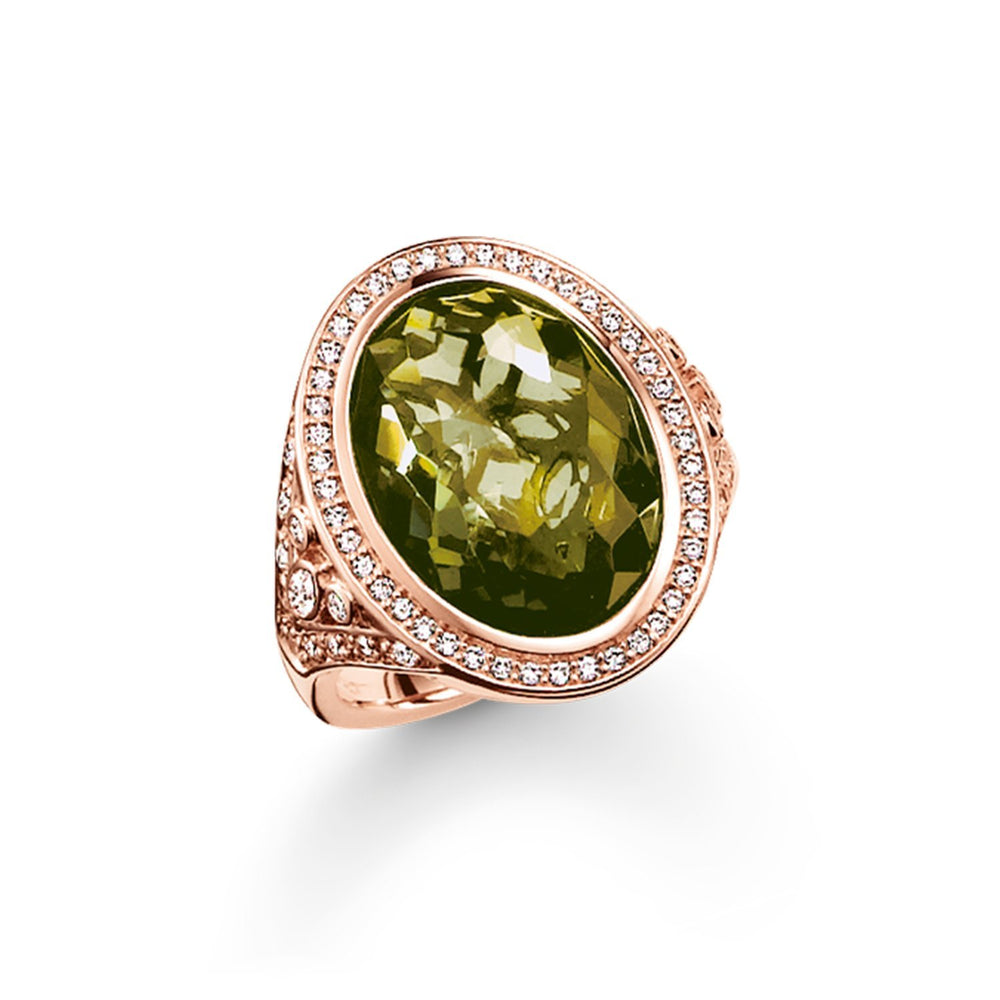 Rose Gold Green Stone Cocktail Ring | Thomas Sabo