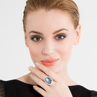 Silver Blue Stone & White Zirconia Cocktail Ring | Thomas Sabo