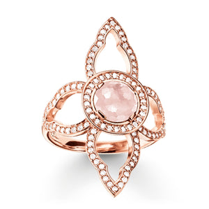 Rose Gold Oriental Flower Ring with Rose Quartz | Thomas Sabo