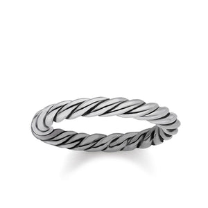 Blackened Silver Rope Style Band Ring | Thomas Sabo