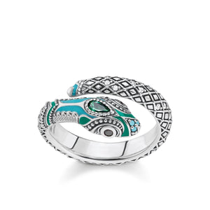 Snake Band Ring with Turquoise & Green Enamel | Thomas Sabo