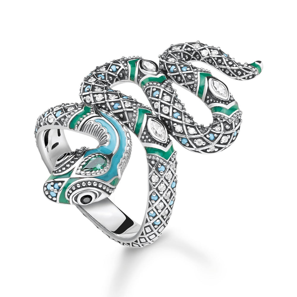 Blackened Silver Snake Ring with Turquoise & Green Enamel | Thomas Sabo