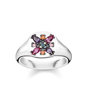 Sterling Silver Colourful Stones Signet Ring | Thomas Sabo