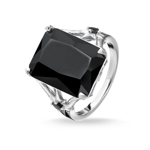 Large Black Stone Ring, With Star
