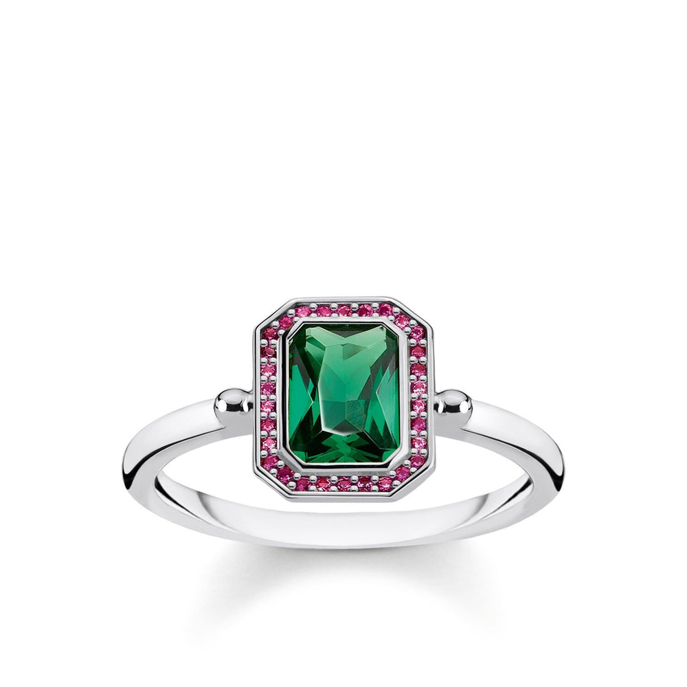 Ring Red & Green Stones, Silver | Thomas Sabo