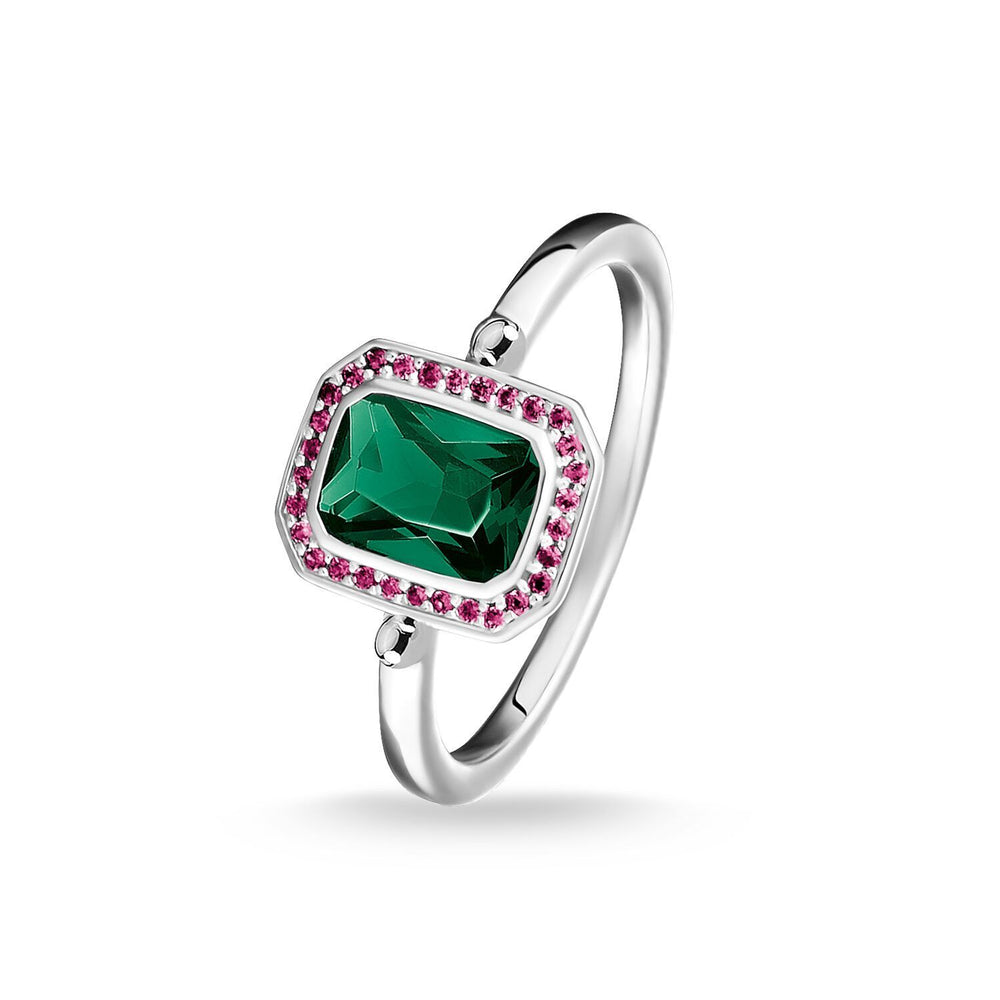 Ring Red & Green Stones, Silver
