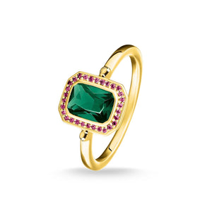 Ring Red & Green Stones, Gold