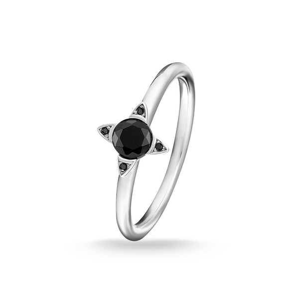 Ring Black Stones, Silver