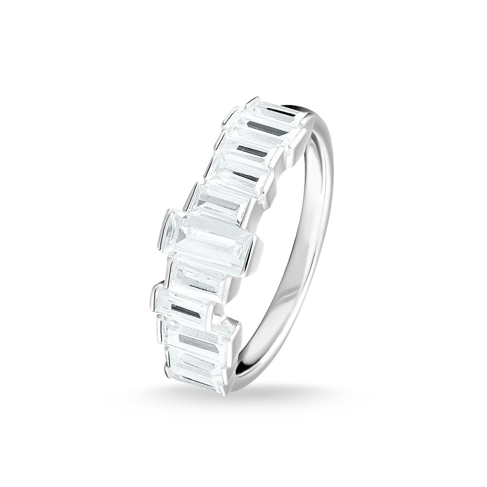 Ring White Stones Baguette Cut