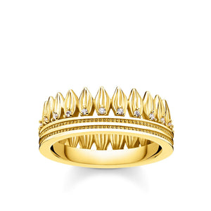 Ring Leaves Crown Gold