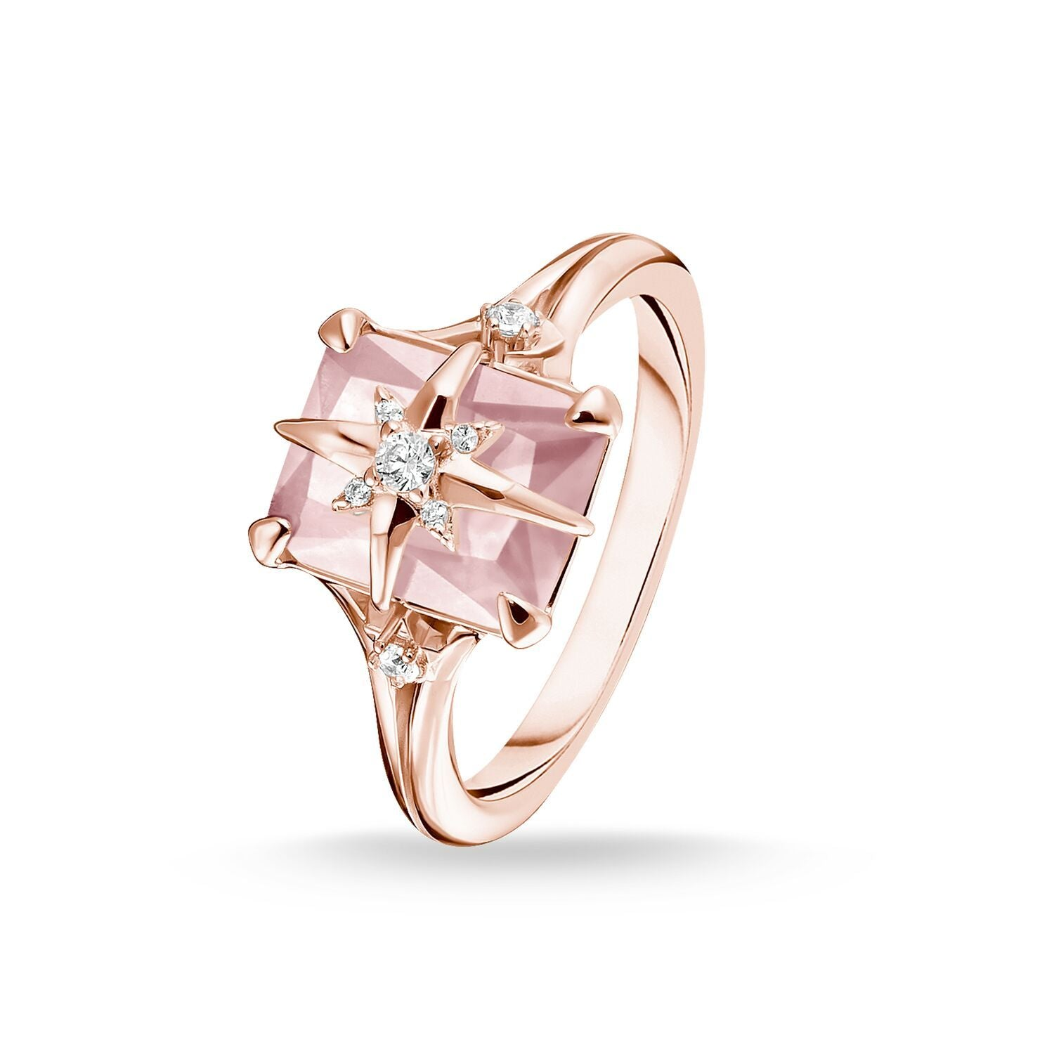 Large Pink Stones Ring with Star