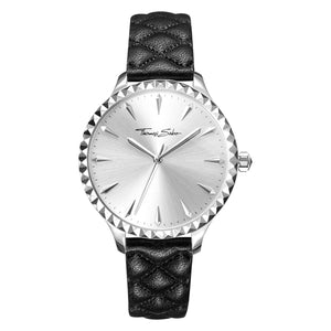 Rebel at Heart Women's Watch with Silver Face & Black Leather | Thomas Sabo