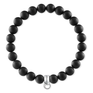 Matt Black Obsidian Beaded Charm Bracelet | Thomas Sabo