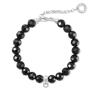 Facetted Black Obsidian Beaded Charm Bracelet | Thomas Sabo