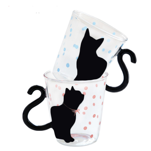 Coffee Cat Glass Mug