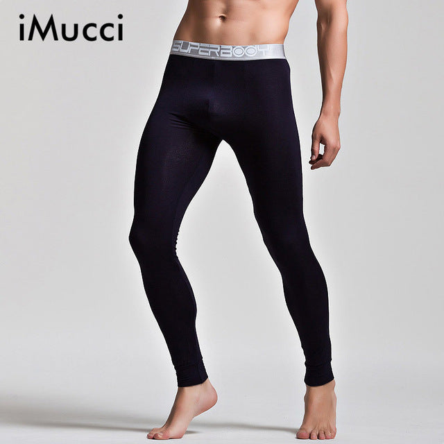 iMucci Black Soft Modal Men Thermal Underwear Sexy Warm Pants Gay Leggings Men Penis Bag Healthy Long Johns Crazy Design