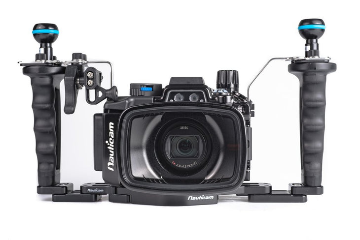 Nauticam NA-RX100VI Pro Package ~includes flexitray, right handle, two mounting balls, M14 vacuum valve, shutter extension