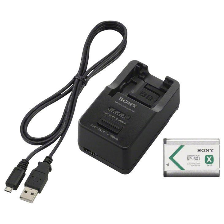 Sony BC-TRX Battery Charger, NP-BX1 Battery, and Cable
