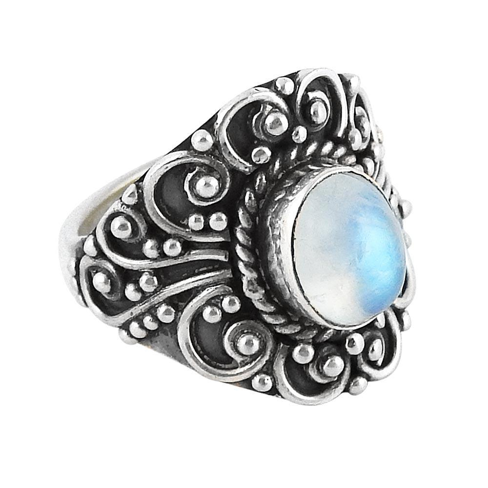 Sterling Silver & Rainbow Moonstone Lydia Ring
