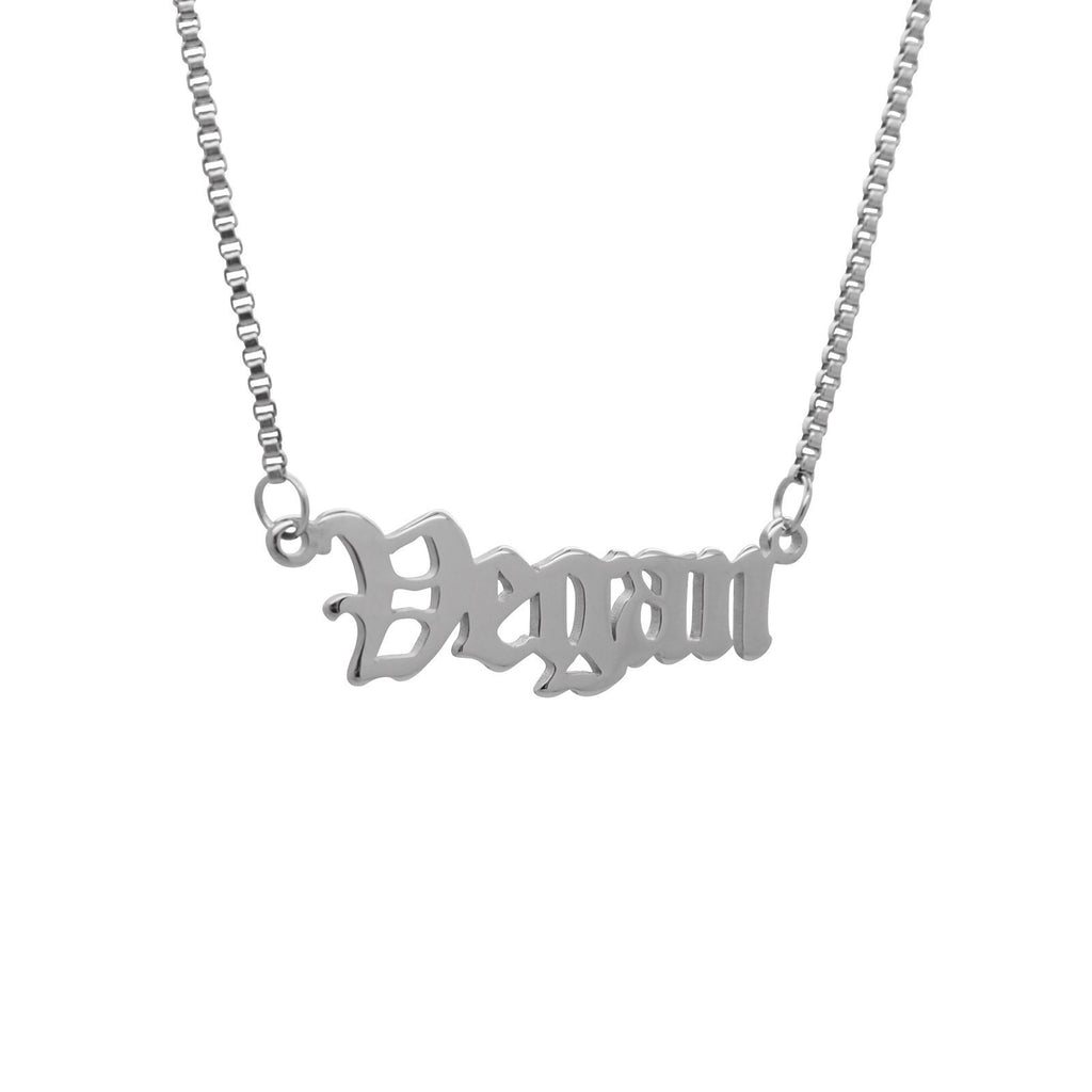'Vegan' Script Necklace
