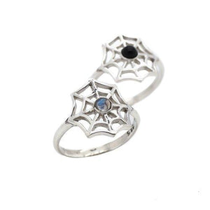 Sterling Silver & Rainbow Moonstone Spiders Web Ring