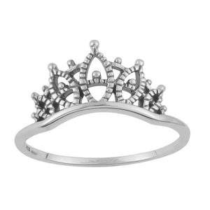 Sterling Silver Lacework Crown Ring