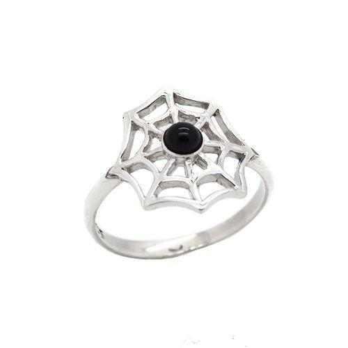 Sterling Silver & Black Onyx Spiders Web Ring.
