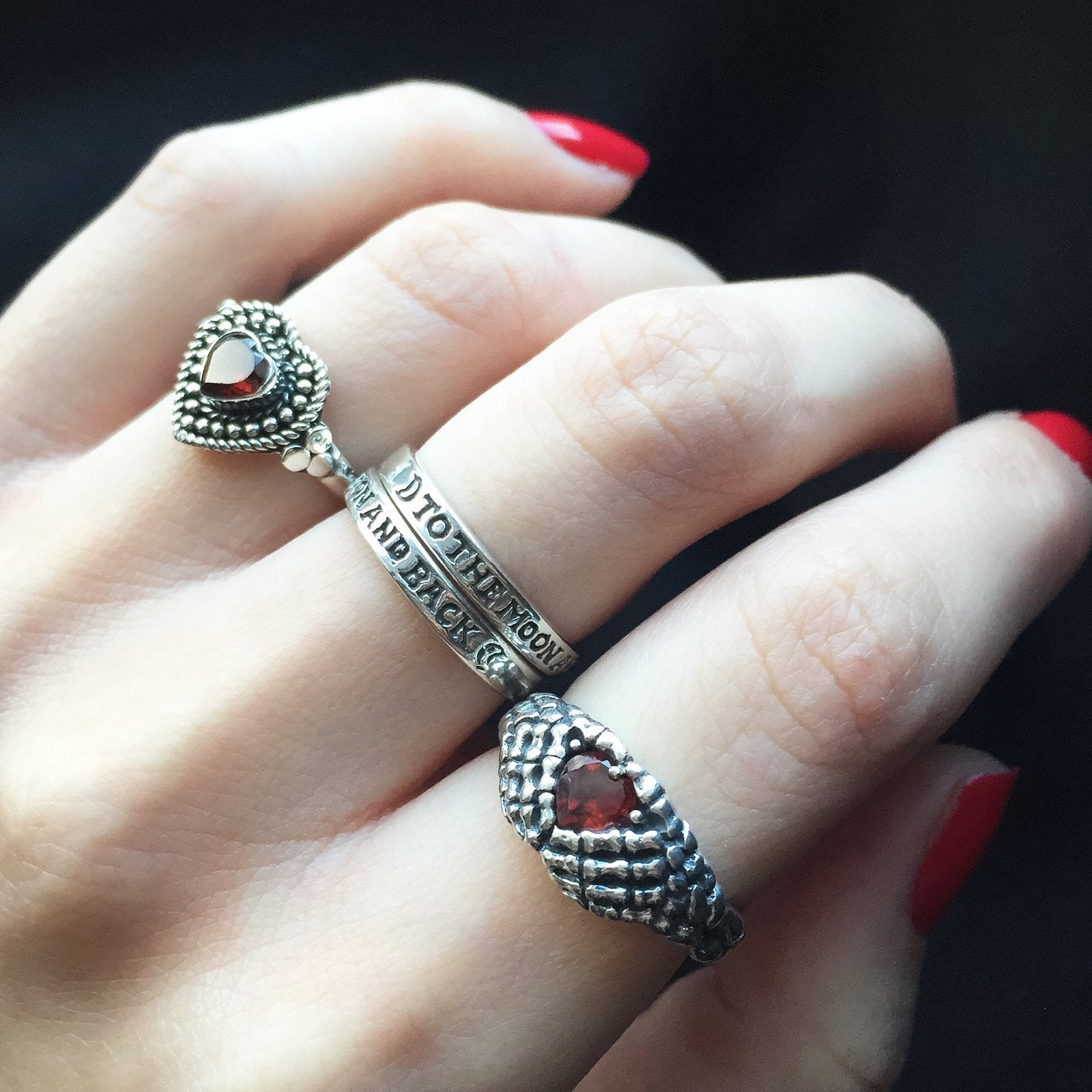 Sterling Silver & Garnet Lovely Bones Ring