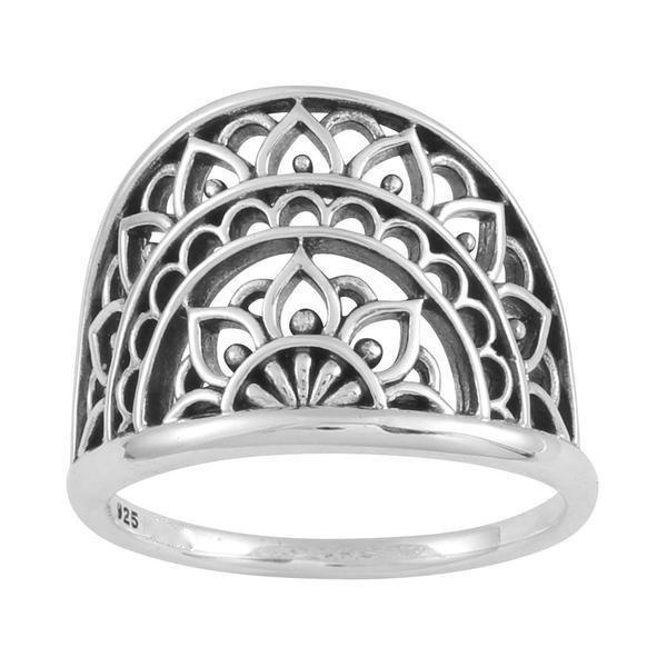 Sterling Silver Mandala Sunrise Ring