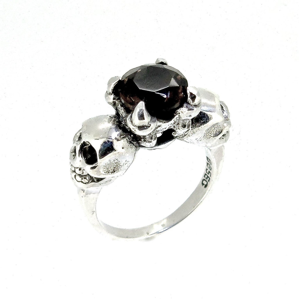 Sterling Silver & Smokey Quartz 'Till Death' Ring
