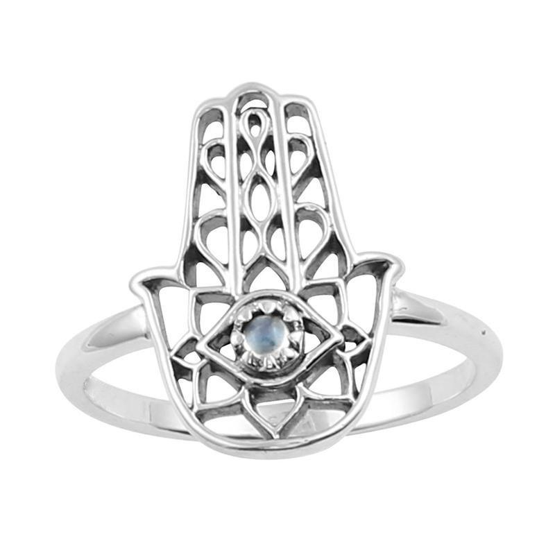 Sterling Silver & Rainbow Moonstone Hamsa Ring