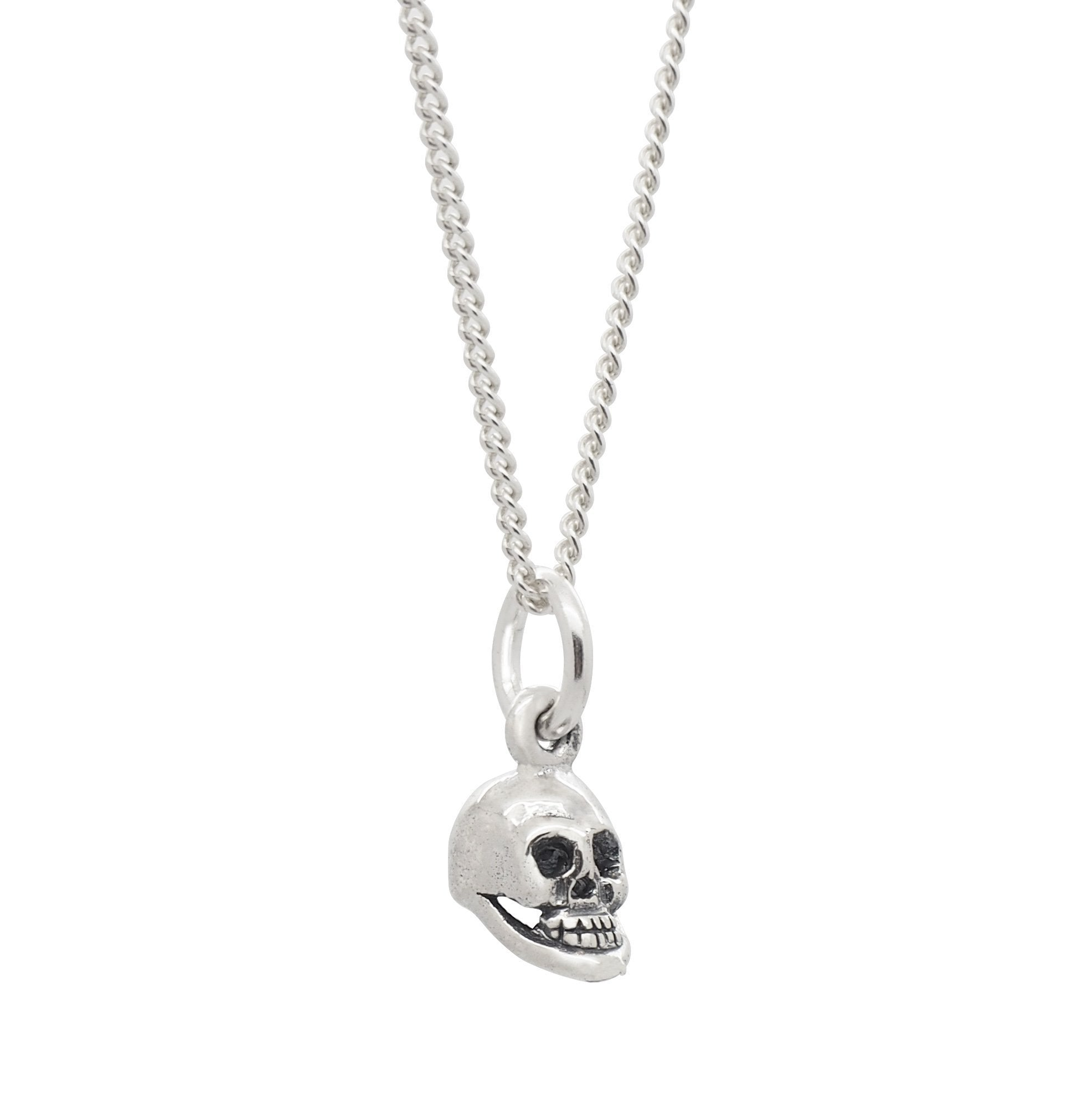 Sterling Silver Dainty Skull Necklace